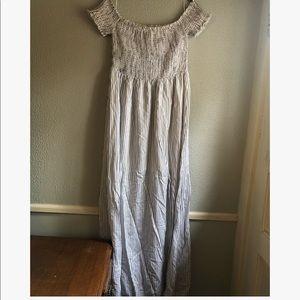English Factory White & Navy Striped Maxi Dress